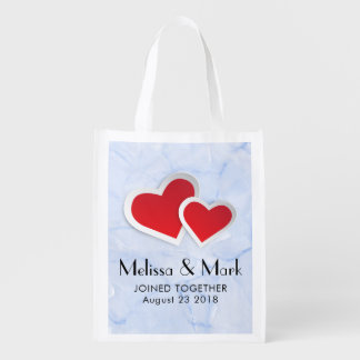 2 Red Paper Hearts on Icy Blue Marble Wedding Reusable Grocery Bag