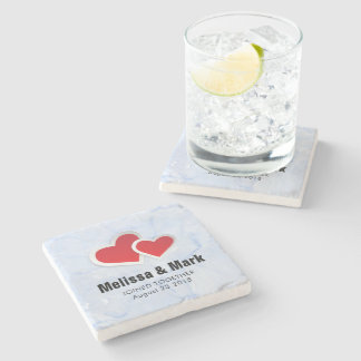 2 Red Paper Hearts on Icy Blue Marble Wedding Stone Coaster