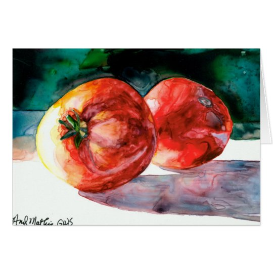2 Red Tomatoes Greeting Card