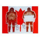 2 Sagittal big foot, 1 text on Canada flag, Postcard