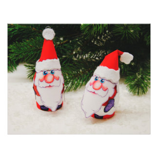 2 Santa Claus Christmas decorations under the tree Flyers