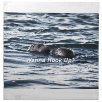 """2 Seals: """"Wanna Hook Up"""" (Making a Pass) Napkin"""