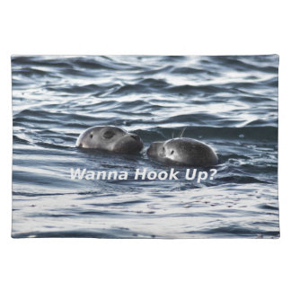 """2 Seals: """"Wanna Hook Up"""" (Making a Pass) Placemat"""