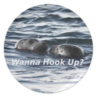 """2 Seals: """"Wanna Hook Up"""" (Making a Pass) Plate"""