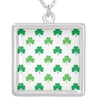 2-Shades of Green Shamrocks on White St. Patrick's Necklaces