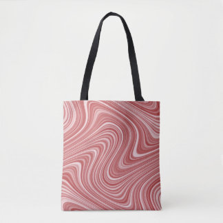 2 Side 2 Color Red/Blue Curvy Line Pattern Tote Bag