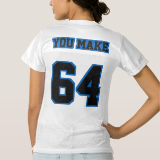 2 Side BLACK BLUE WHITE Womens Football Jersey
