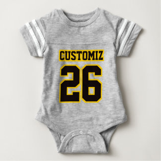 2 Side GRAY BLACK GOLD Crewneck Football Outfit Baby Bodysuit