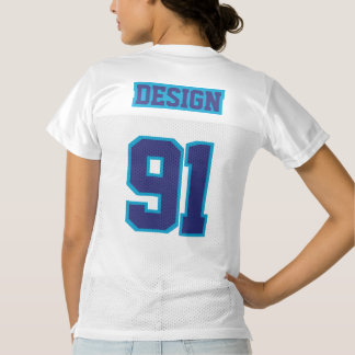 2 Side NAVY BLUE WHITE Womens Football Jersey