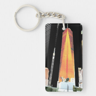 2 side Printed DIY easy add or replace photo image Double-Sided Rectangular Acrylic Key Ring