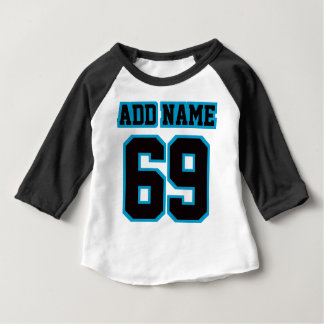 2 Side WHITE BLACK BLUE 3/4 Sleeve Raglan Baby T-Shirt