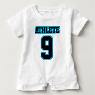 2 Side WHITE BLACK BLUE Romper Football Jersey Baby Bodysuit