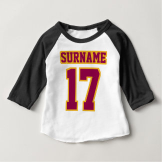 2 Side WHITE BLACK BURGUNDY GOLD 3/4 Sleeve Raglan Baby T-Shirt