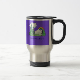 2-sided PURPLE Mt High Logo 15 Oz Stainless Steel Travel Mug