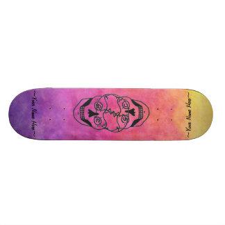 2 Skulls skateboard deck rainbow tie dye