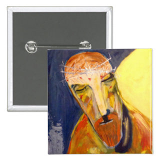 """2"""" square badge with Jesus painting"""