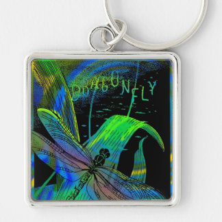 "2""  Square Dragonfly Keychain"