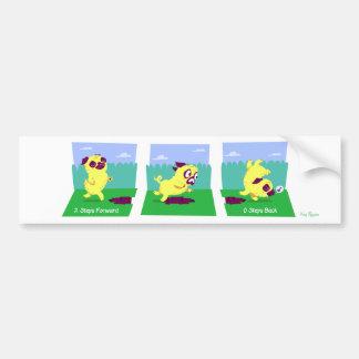 2 Steps Forward, 0 Steps Back Motivational Pug Dog Bumper Sticker