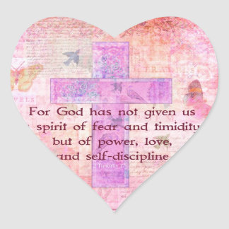 2 Timothy 1:7  Biblical quote scripture Heart Sticker