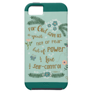 2 Timothy 1:7 Scripture art gold hand lettered Tough iPhone 5 Case