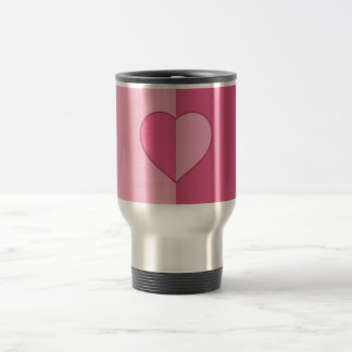 2-Tone Pink with Heart Stainless Steel Travel Mug