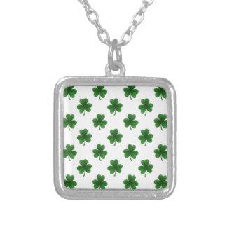 2-Tone Shamrock Green on White St.Patrick's Clover Pendants