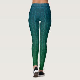 2 tone teal green Woman's Leggings, Yoga pants