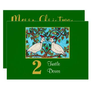 2 Turtle Doves Cute Birds Love Custom Christmas Card