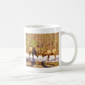 2 two Bull Elk in the snow Mug