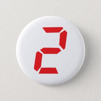 2 two red alarm clock digital 6 cm round badge
