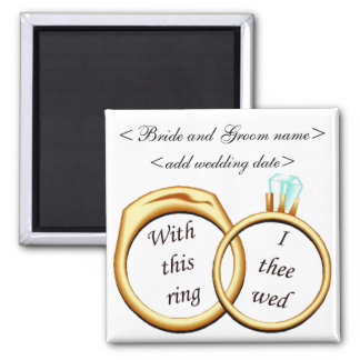 2 Wedding Rings Square Magnet