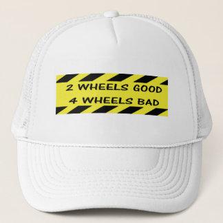 """2 wheels good"" custom cycling hats"