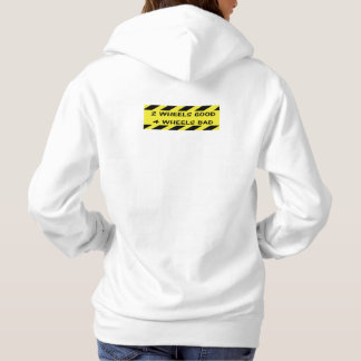 """2 wheels good"" cycling hoodies for women"