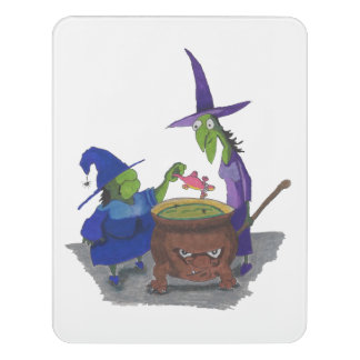 2 Witches brewing up potion in Cauldron Halloween Door Sign