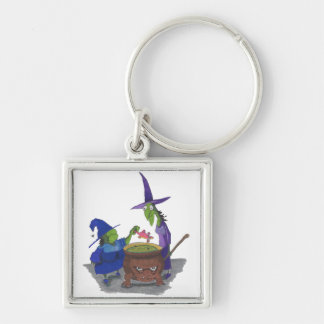 2 Witches brewing up potion in Cauldron Halloween Key Ring