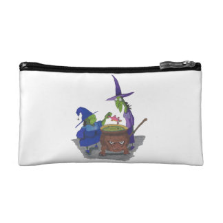 2 Witches brewing up potion in Cauldron Halloween Makeup Bag