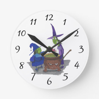 2 Witches brewing up potion in Cauldron Halloween Round Clock