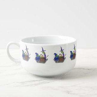 2 Witches brewing up potion in Cauldron Halloween Soup Mug