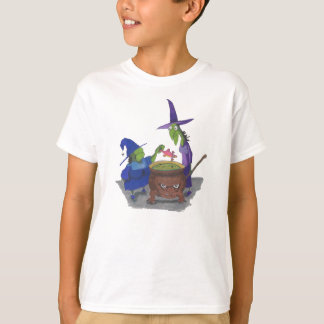 2 Witches brewing up potion in Cauldron Halloween T-Shirt