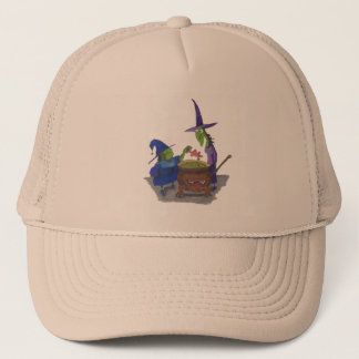 2 Witches brewing up potion in Cauldron Halloween Trucker Hat