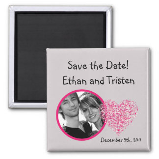 "2""x2"" Save the Date Magnet Pink Floral Petals Flow Refrigerator Magnets"