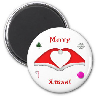 2 Xmas hats form a heart and other decorations 6 Cm Round Magnet