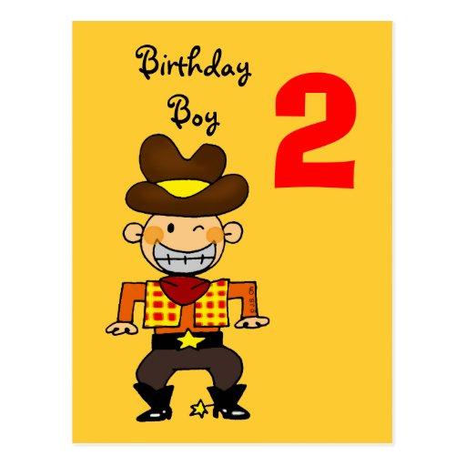 2 year old birthday boy postcard