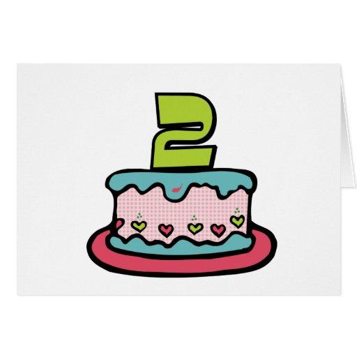 2 Year Old Birthday Cake Card