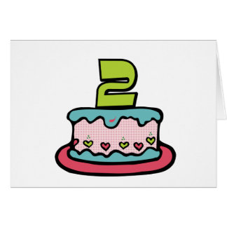 2 Year Old Birthday Cake Greeting Card