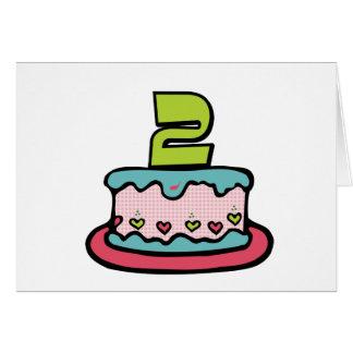 2 Year Old Birthday Cake Greeting Card