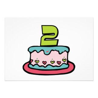 2 Year Old Birthday Cake Custom Invitations