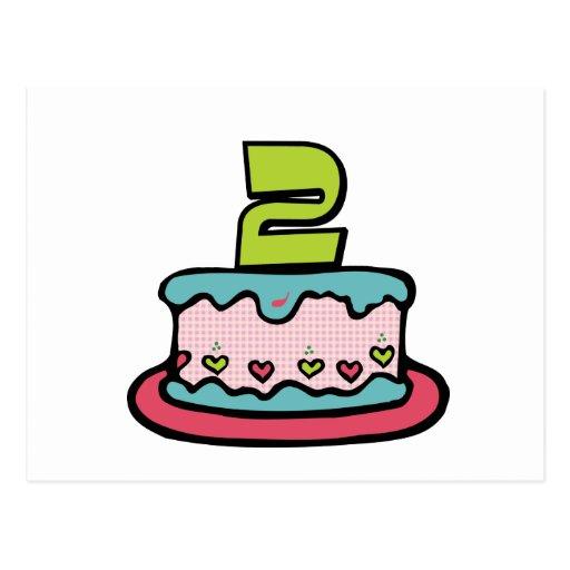 2 Year Old Birthday Cake Post Card