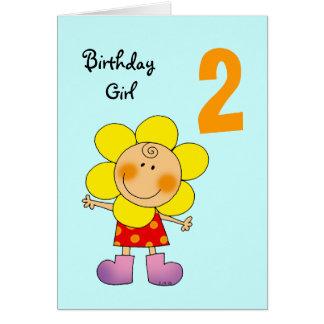 2 year old birthday girl card