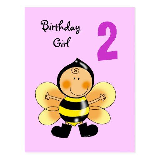 2 year old birthday girl postcards